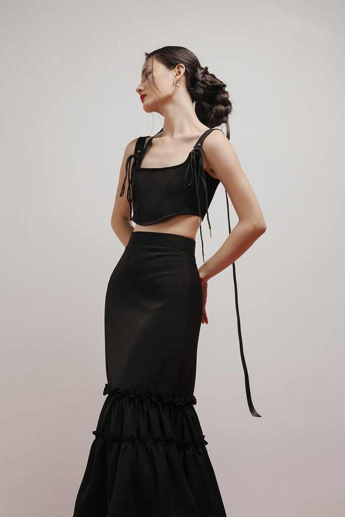 DAHLIA RUFFLES SKIRT (BLACK)