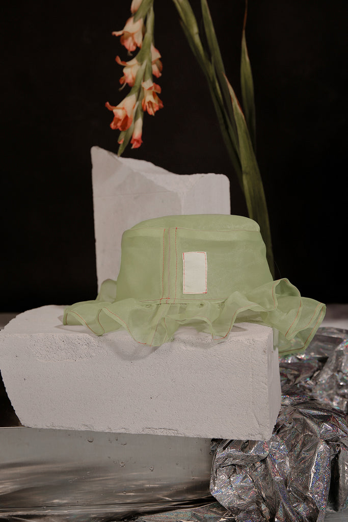GHOST ORGANZA HAT (LIME GREEN)