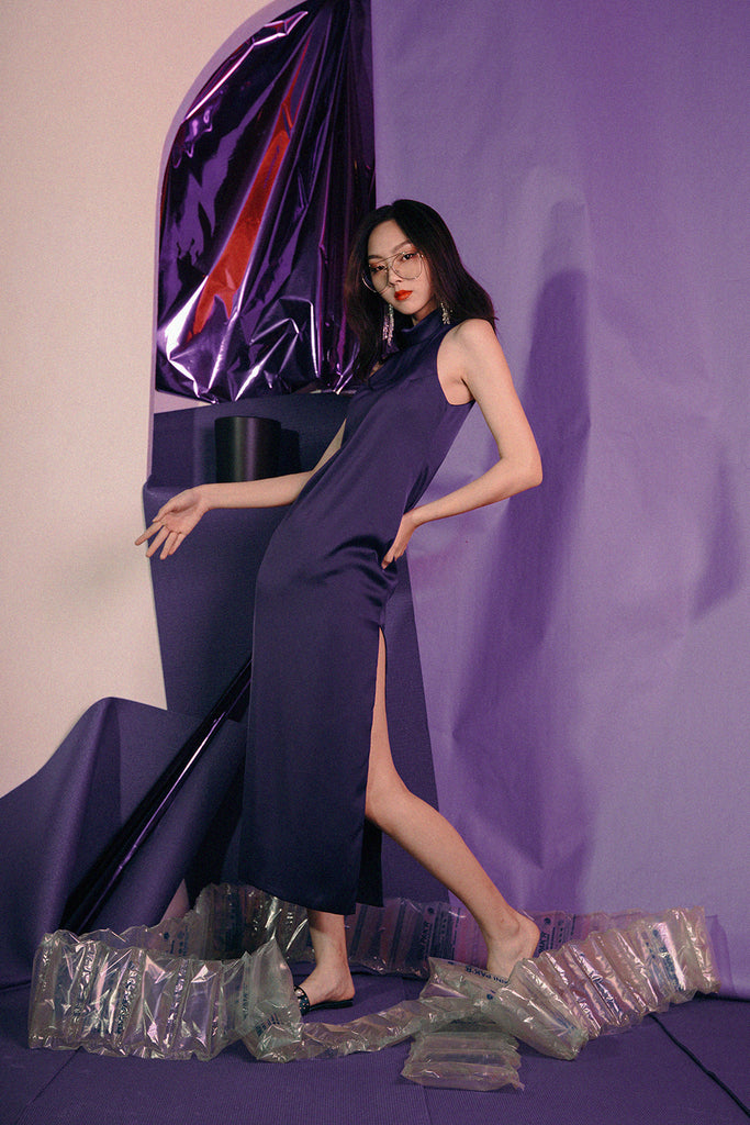 HALLEY SLIT DRESS (PURPLE)