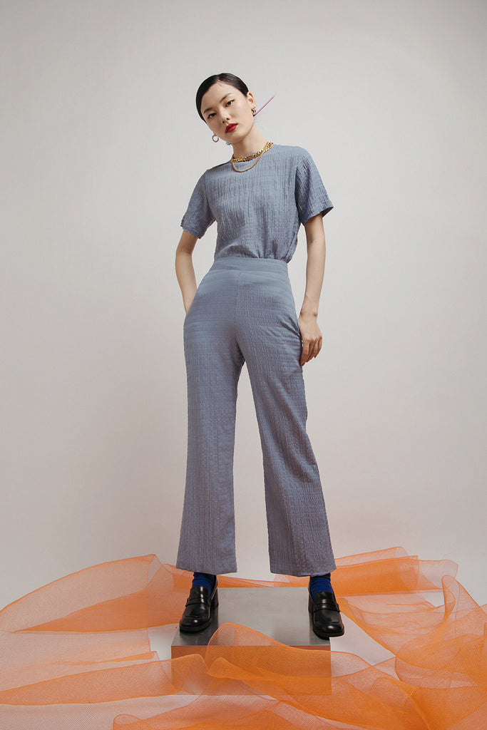 IRENE TEE CO-ORD (DUSTY BLUE)