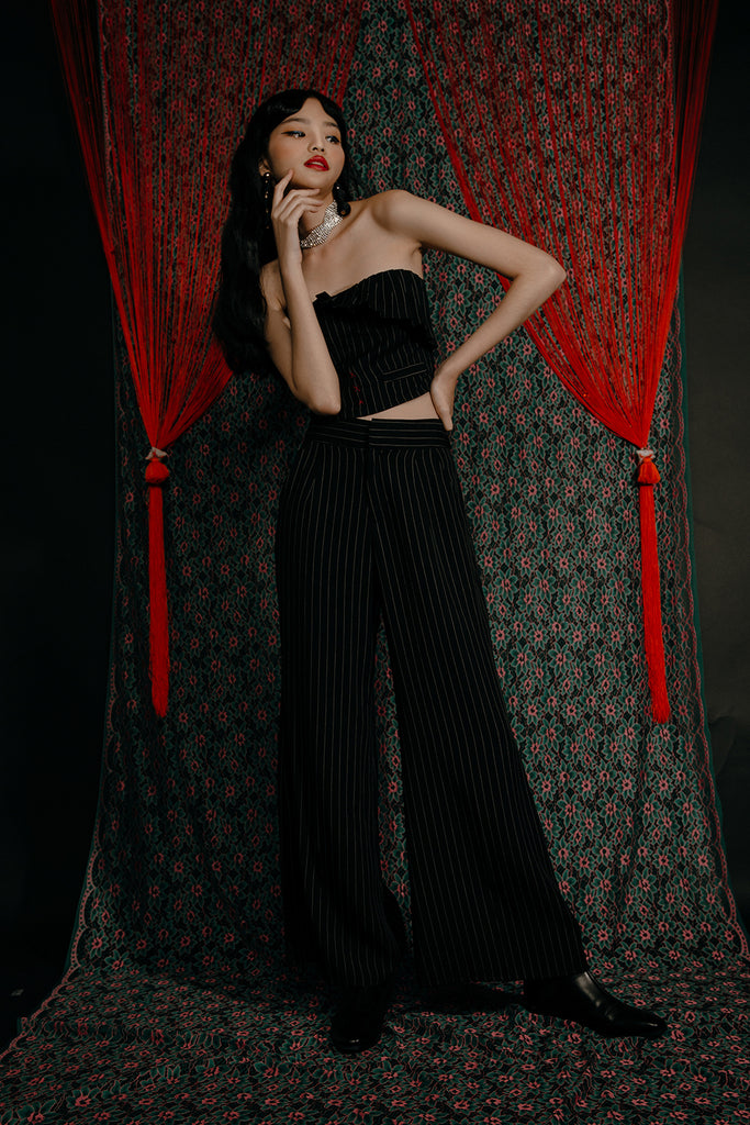 LARISA PLEATED CO-ORD (BLACK PINSTRIPE)