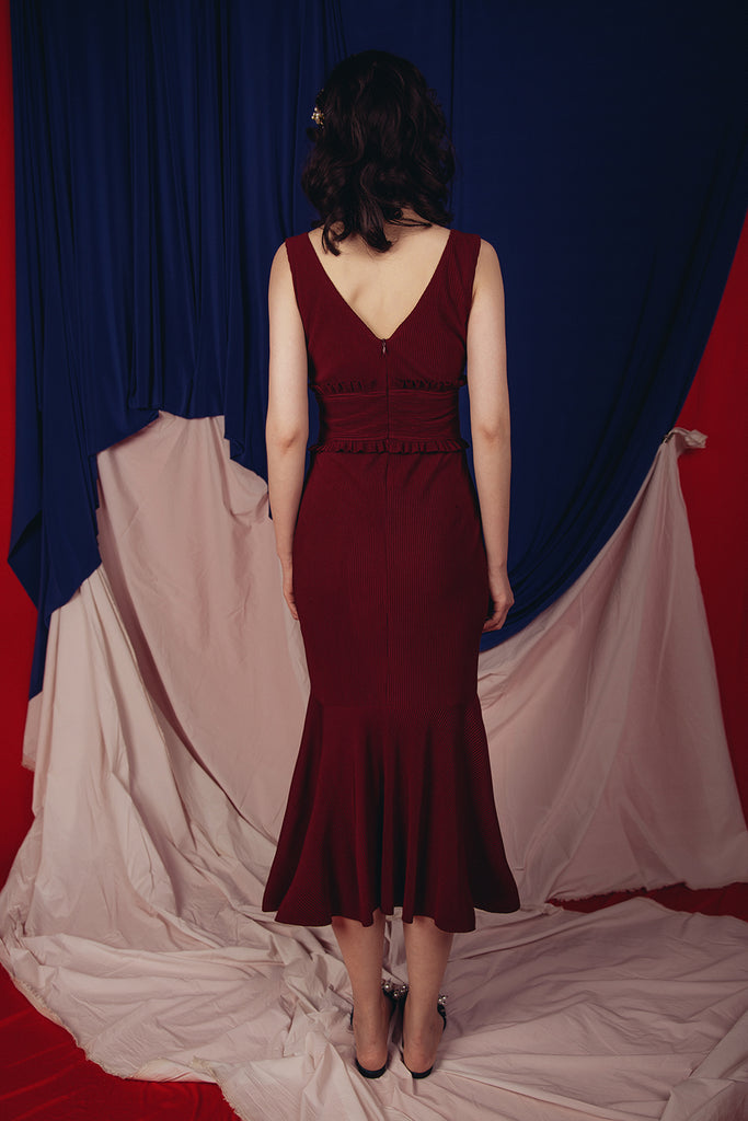 NEITH MERMAID DRESS (BURGUNDY)