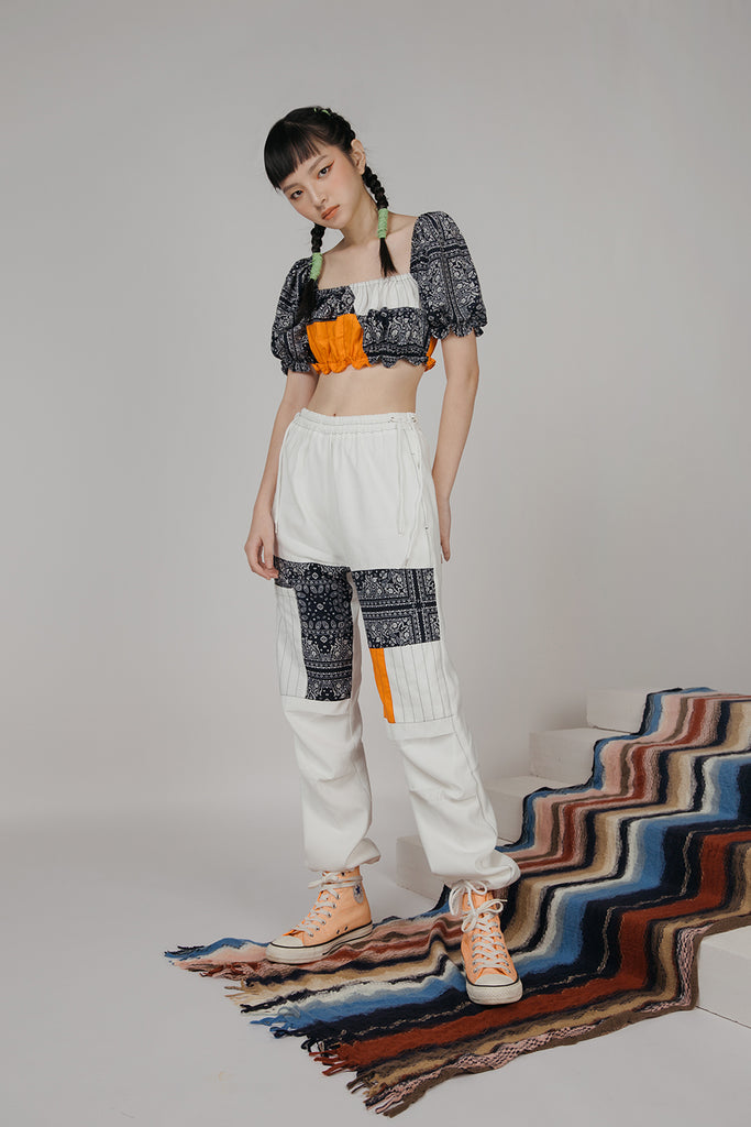 PETRA PATCHWORK PANTS (WHITE)