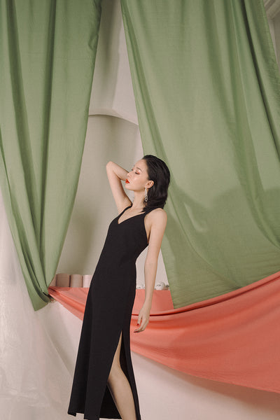 RHEIA SLIP DRESS (BLACK)