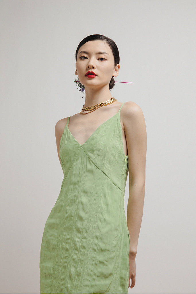 ZORA SLIP DRESS (PASTEL LIME)