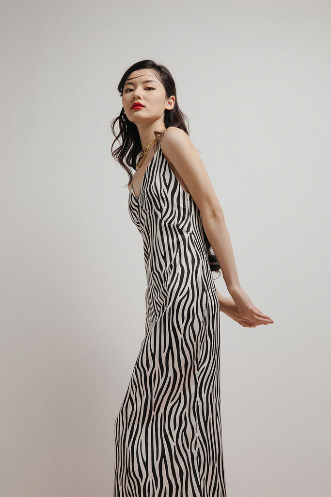 ZORA SLIP DRESS (ZEBRA)