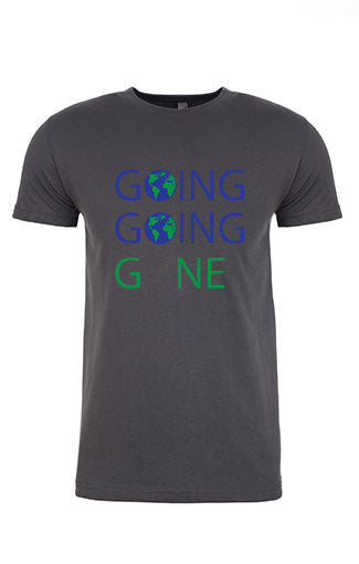 GOING GOING GONE natural crew neck shirt. A portion of the profits from this shirt goes to the World Wildlife Fund