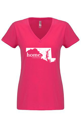 Massachuesetts home tshirt - Ladies v neck