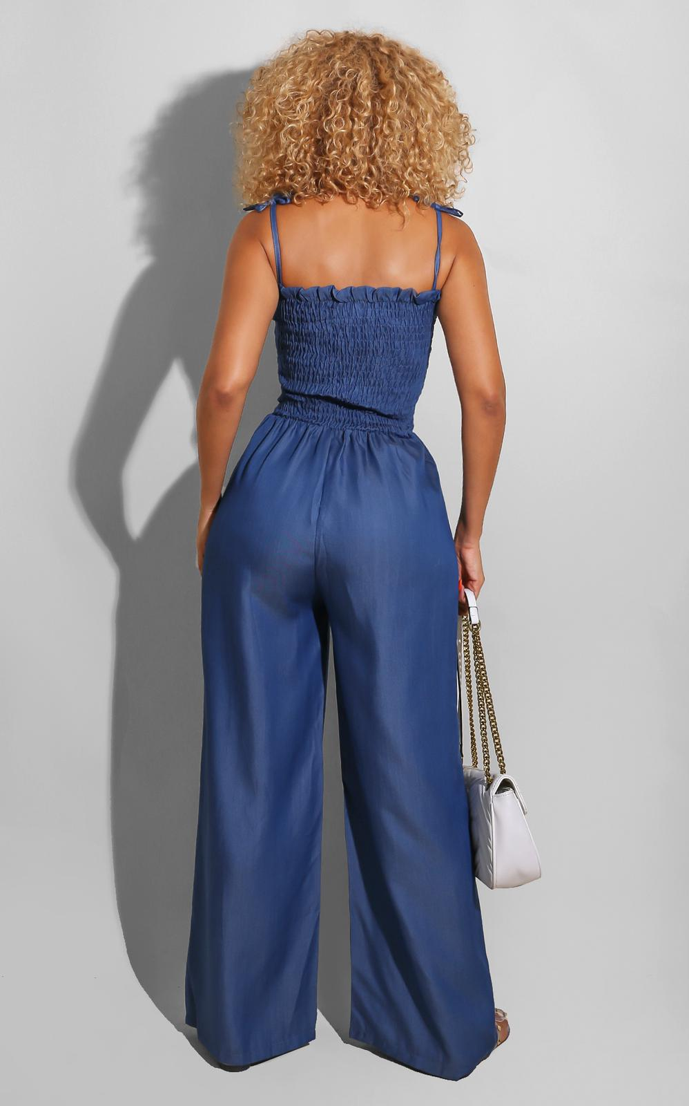 Denim Ties Jumpsuit