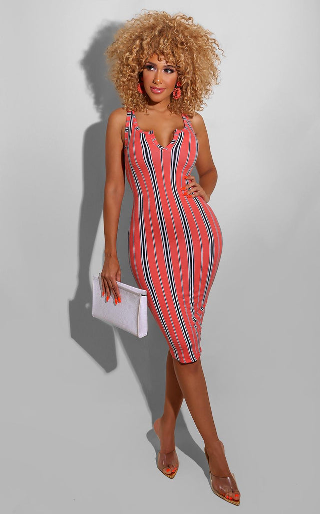 Peach Stripe Midi