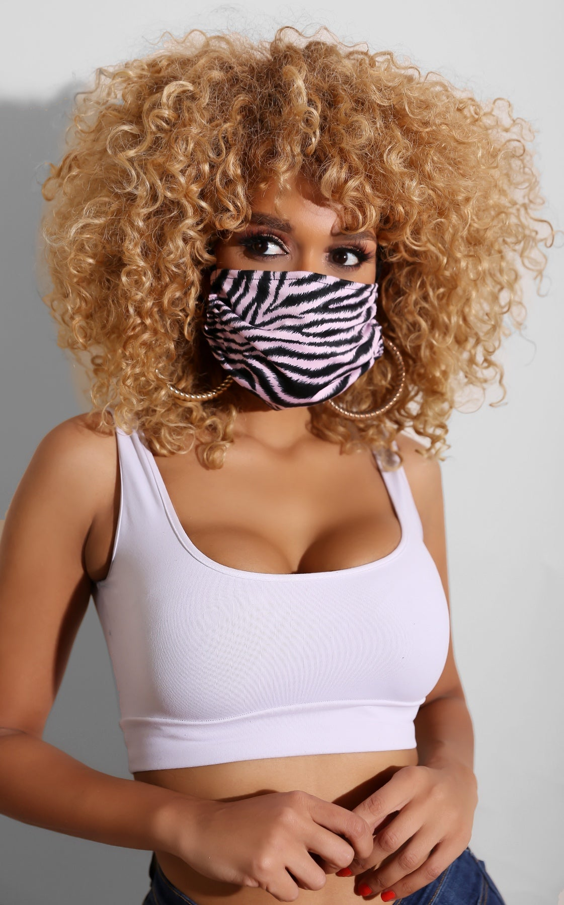 Zebra Face Mask Light Pink