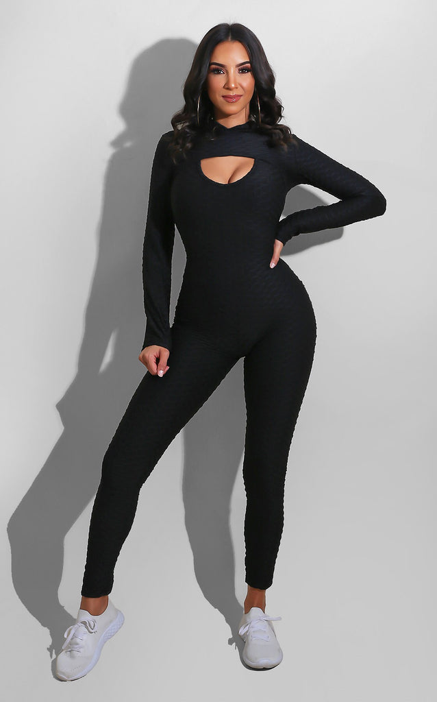 Gym Hoodie Jumpsuit Set Black