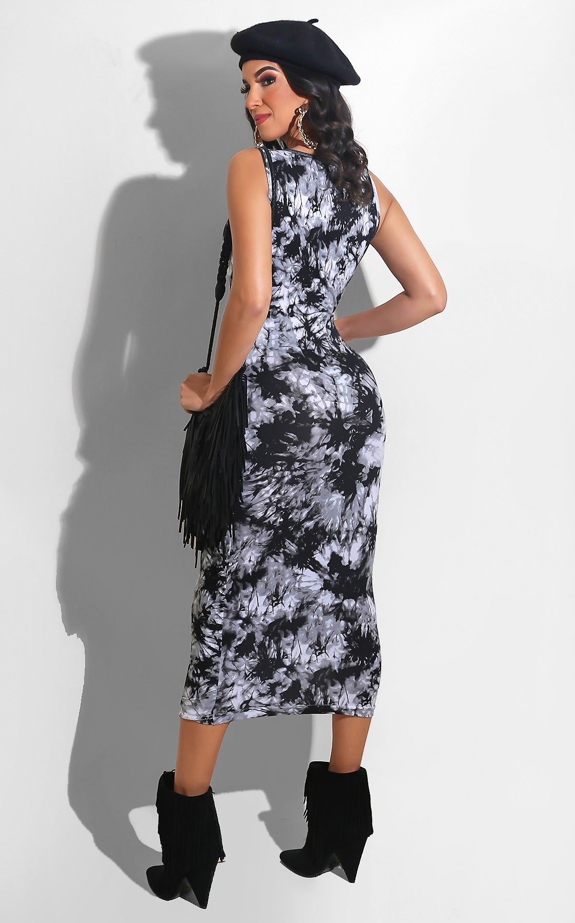 Zipper Tie Dye Midi Black