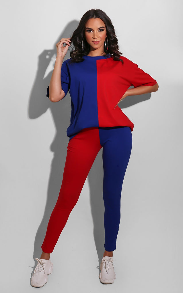 Short Sleeve Color Block Pant Set Red