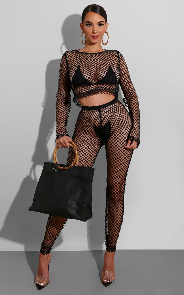 Fishnet Coverup Set Black