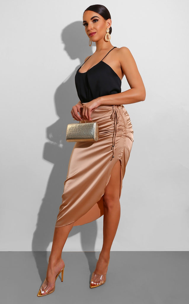 Silk Curves Skirt Nude