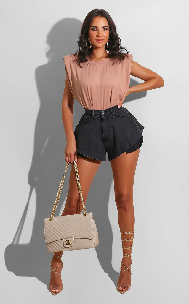 Cheeky Denim Shorts Dark Grey