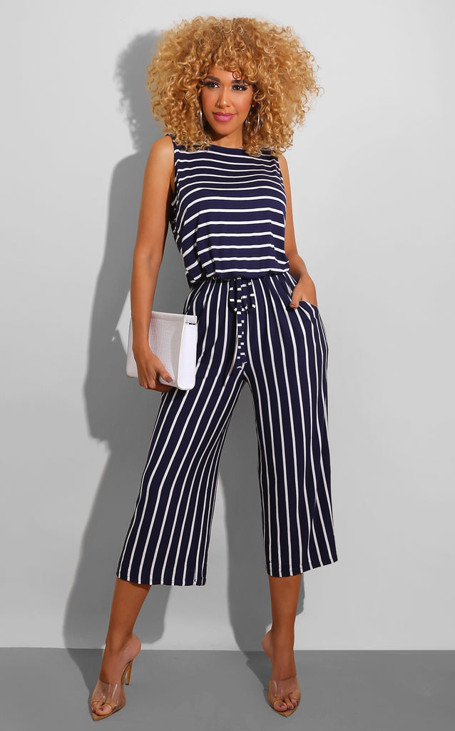 Stay In Line Jumpsuit Navy