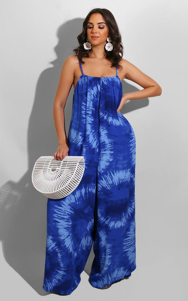 Airy Tie Dye Jumpsuit Blue