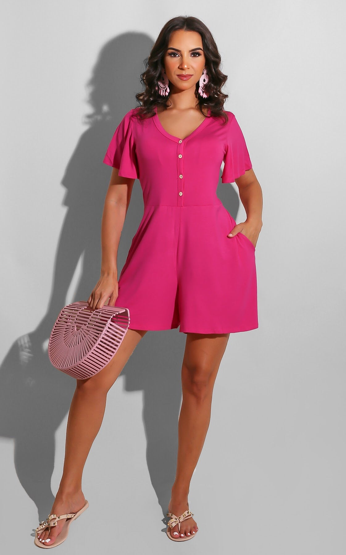 Park Day Romper Hot Pink