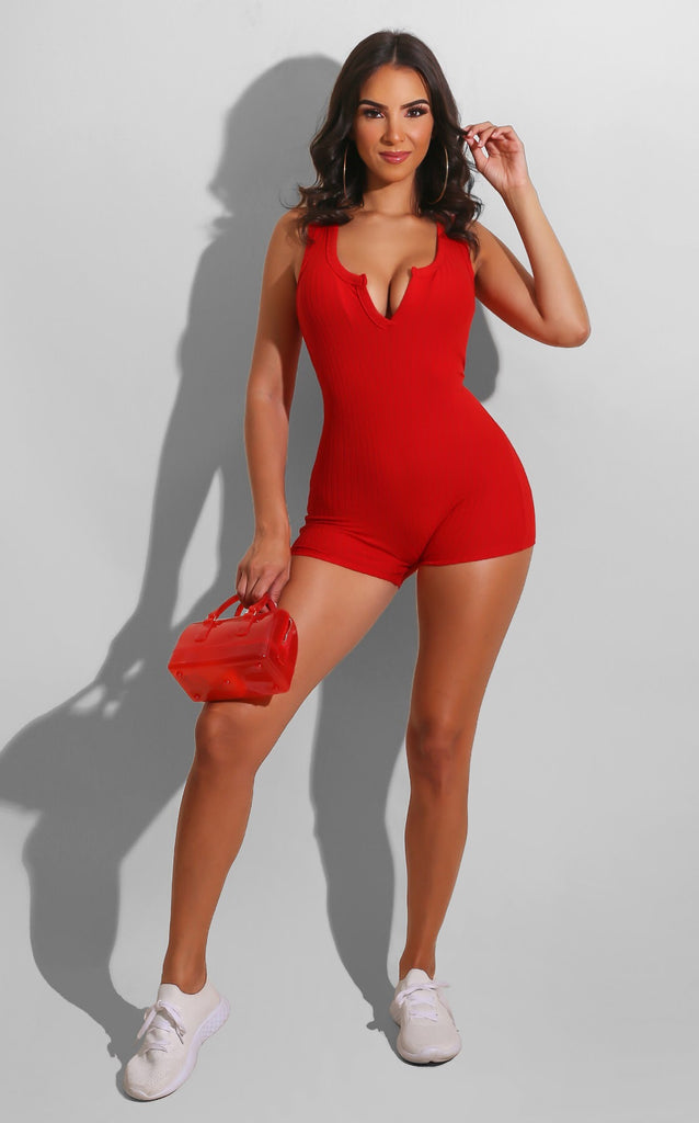 Simply Easy Romper Red