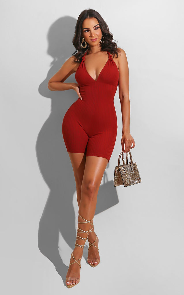 Heels or Sneaker Romper Red