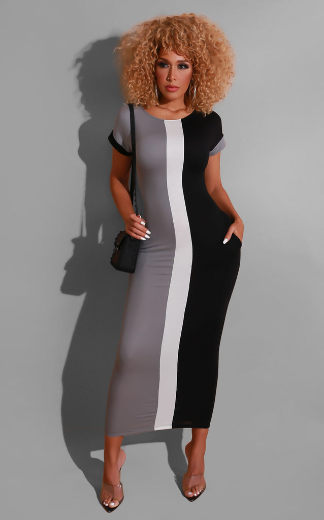 Check My Curves Grey Dress