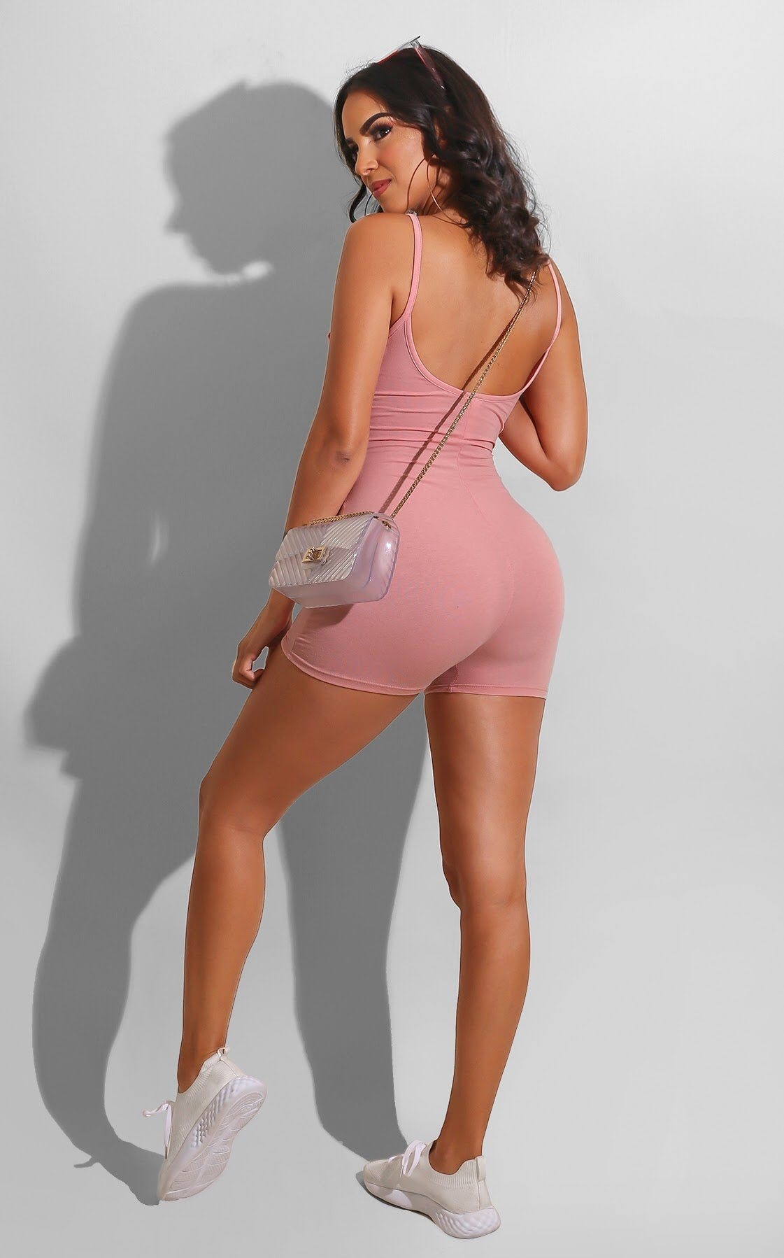 Strap Catsuit Romper Pink