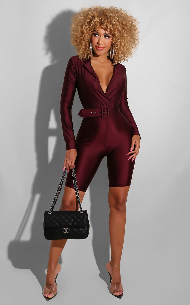 I'm The Trend Romper Burgundy