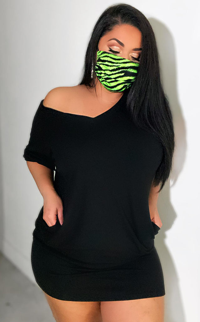 Zebra Face Mask Neon Green