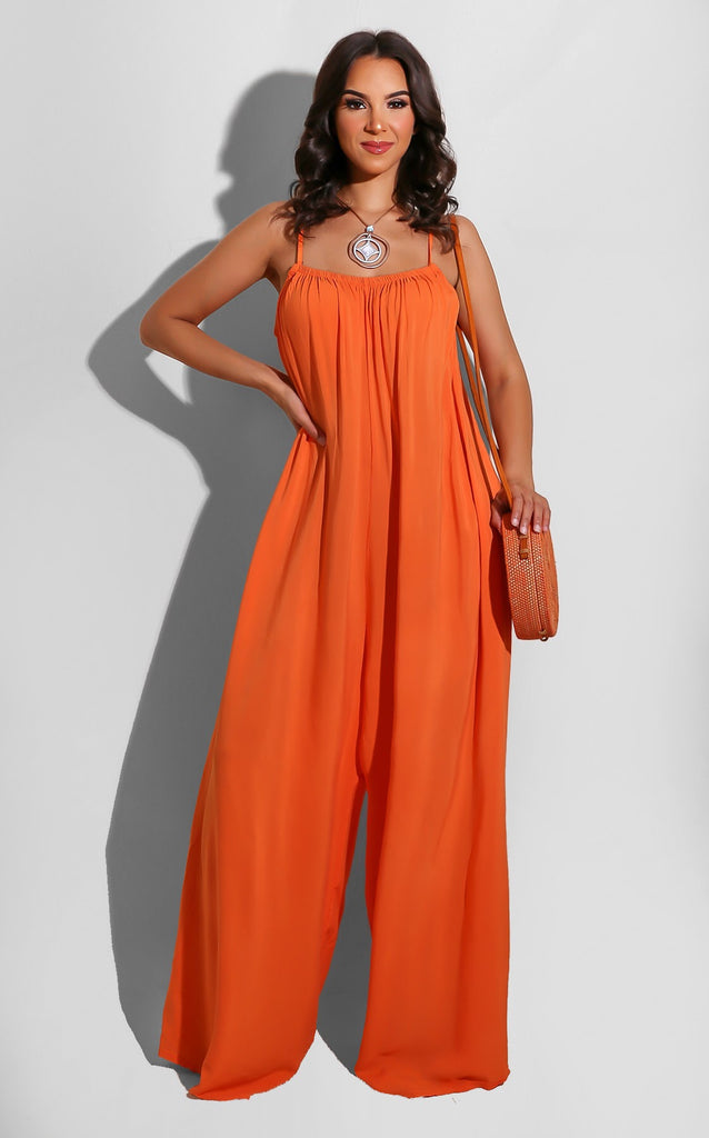 Spring Boho Jumpsuit Orange