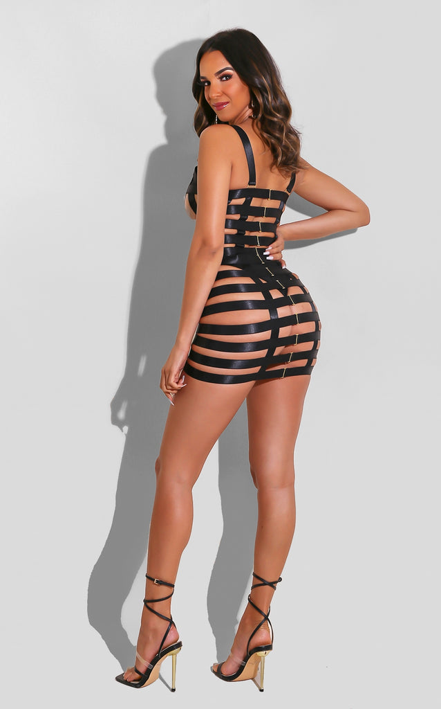 Caged Bustier Mini Black