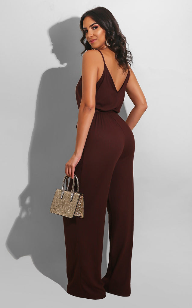 It's Time For a Brunch Date Jumpsuit Brown