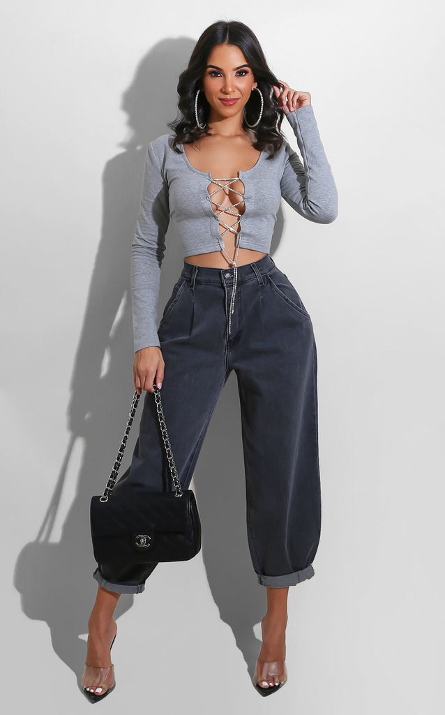 Rhinestone String Top Grey