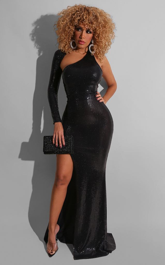 Seductive Sequin Gown Black