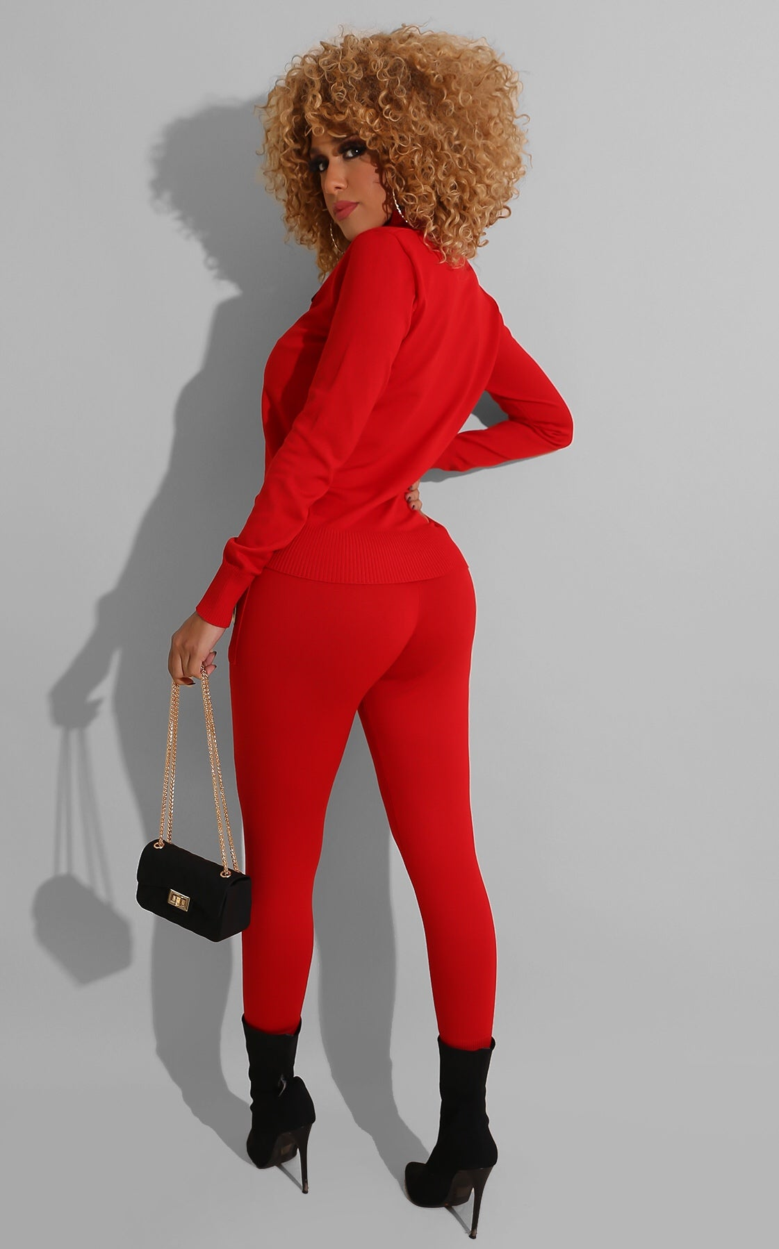 Furry Eye Pant Set Red