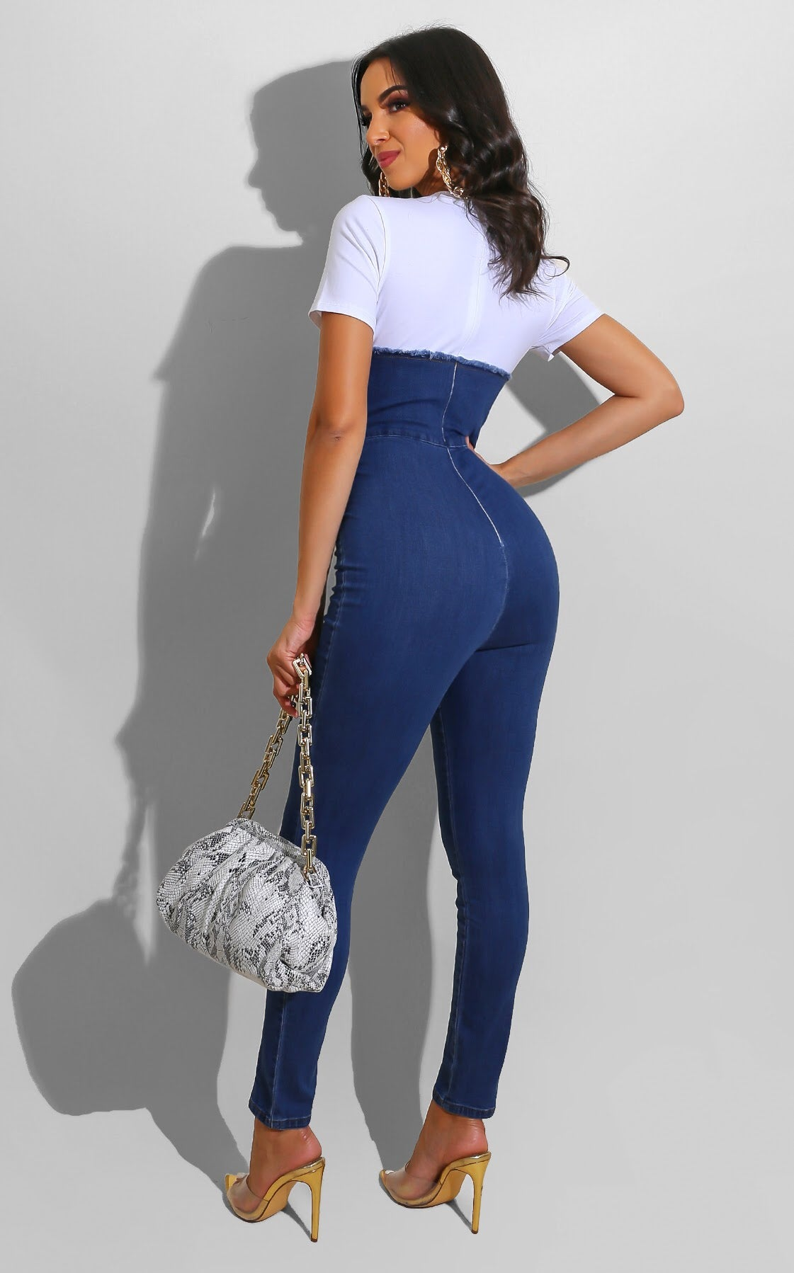 Denim Bustier Jumpsuit