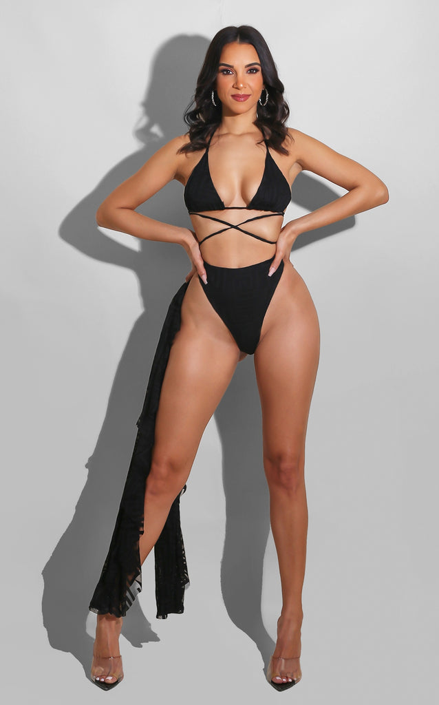 Designer Ruffle Swimsuit Set Black