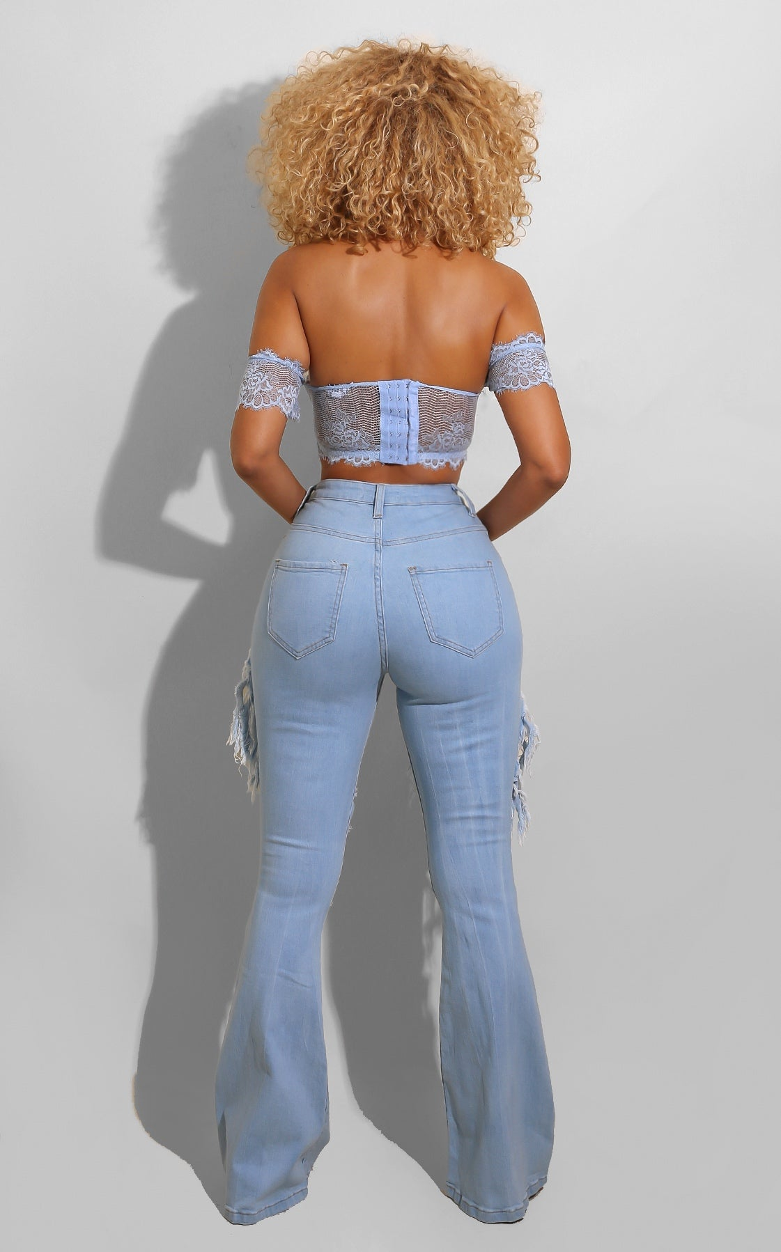 Chill Ripped Denim Bell Bottoms