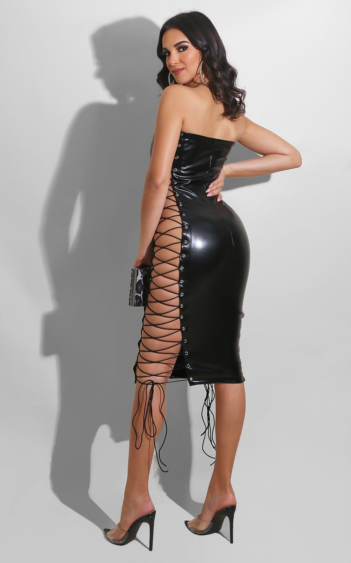 Laced Up Pleather Midi Black