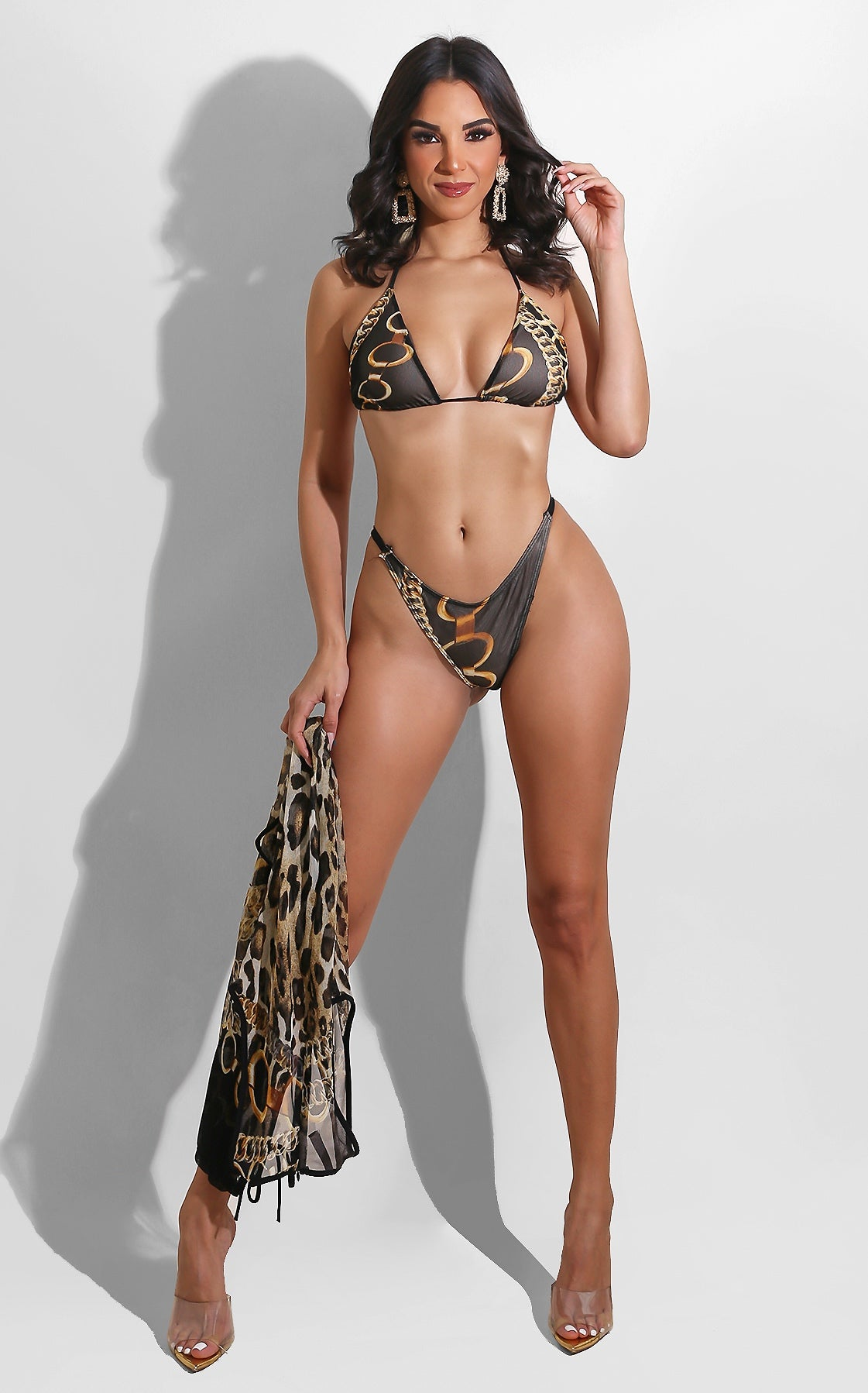 Chains and Leopard Bikini Set