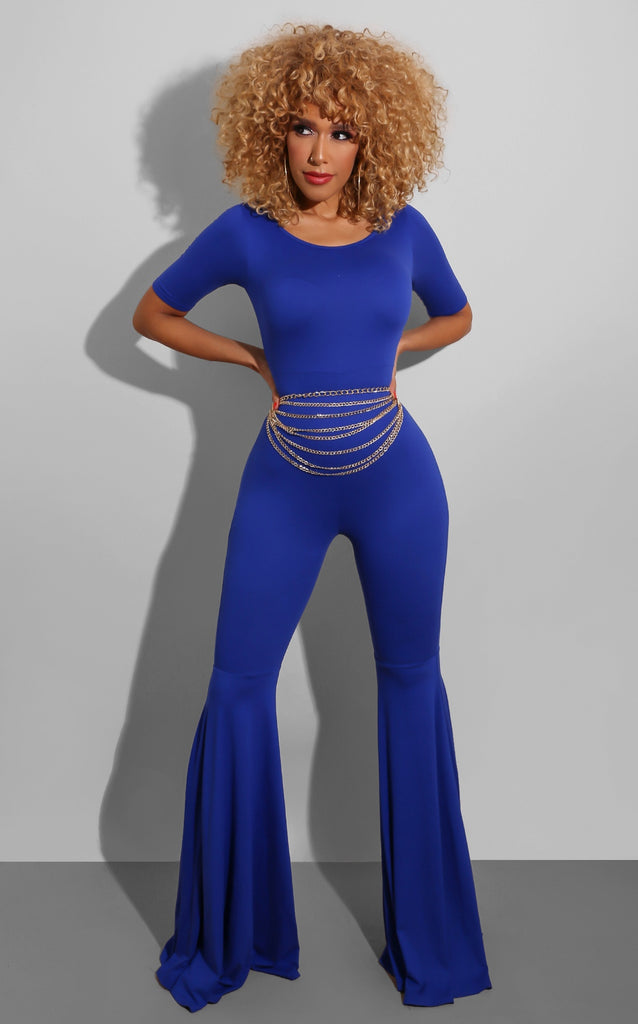 Flirt Session Jumpsuit Blue