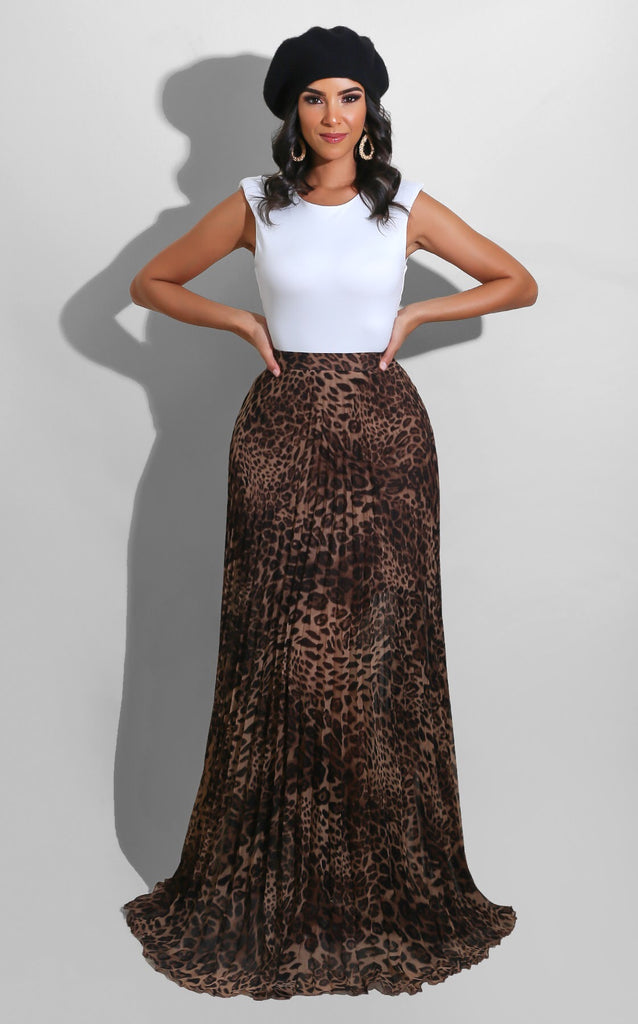 Fall Pleated Leopard Skirt