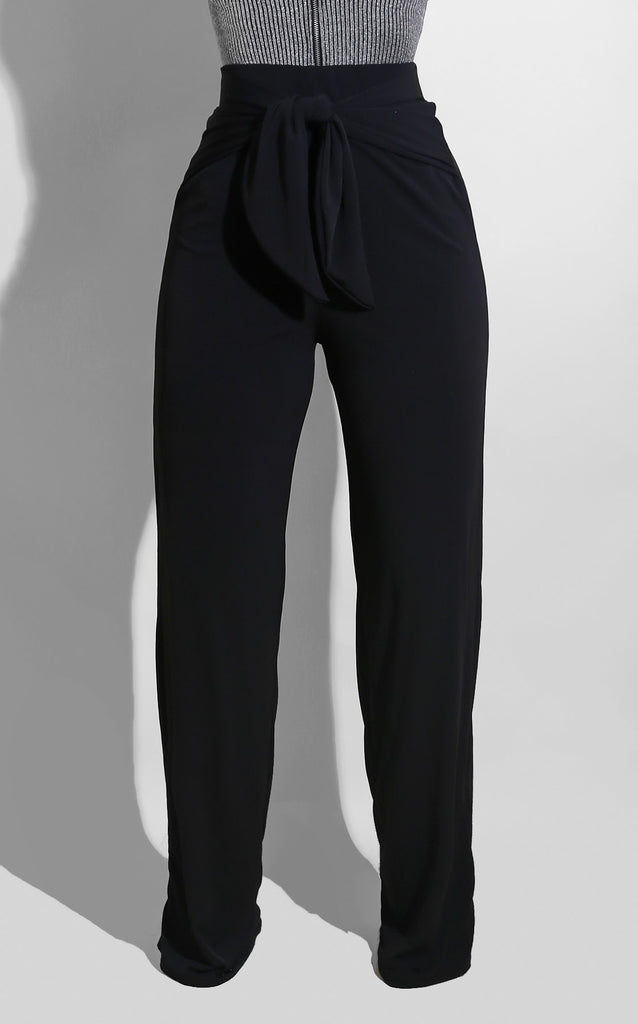 Bow Tie Pants Black