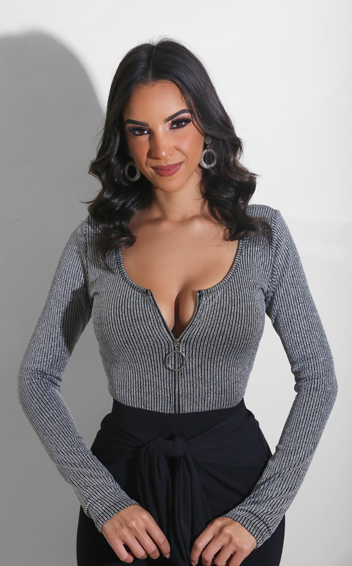 Glitz Ribbed Top Grey