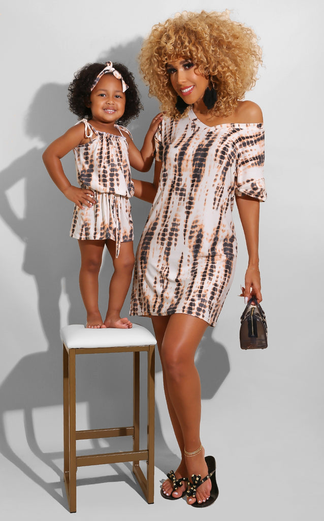 Mini Me Tie Dye Dress Orange