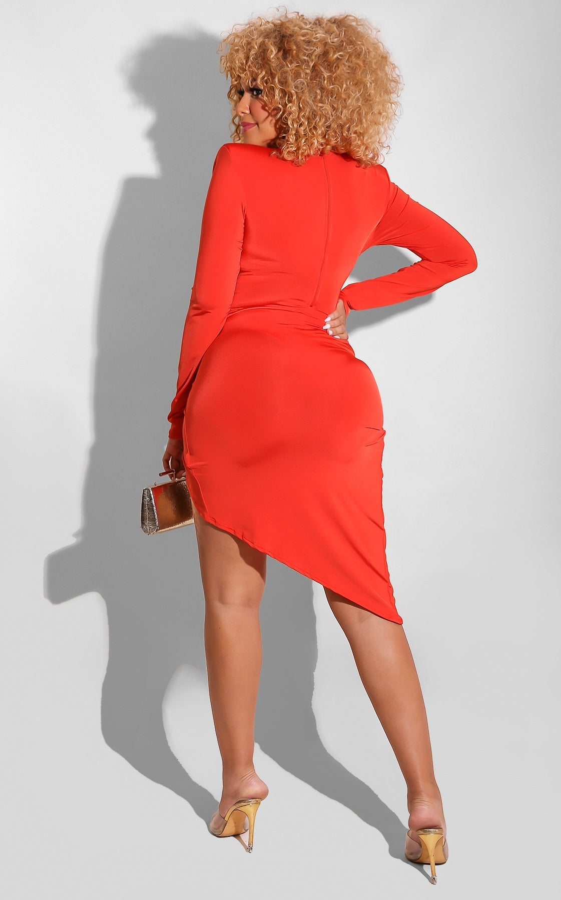V Cut Split Skirt Set Orange