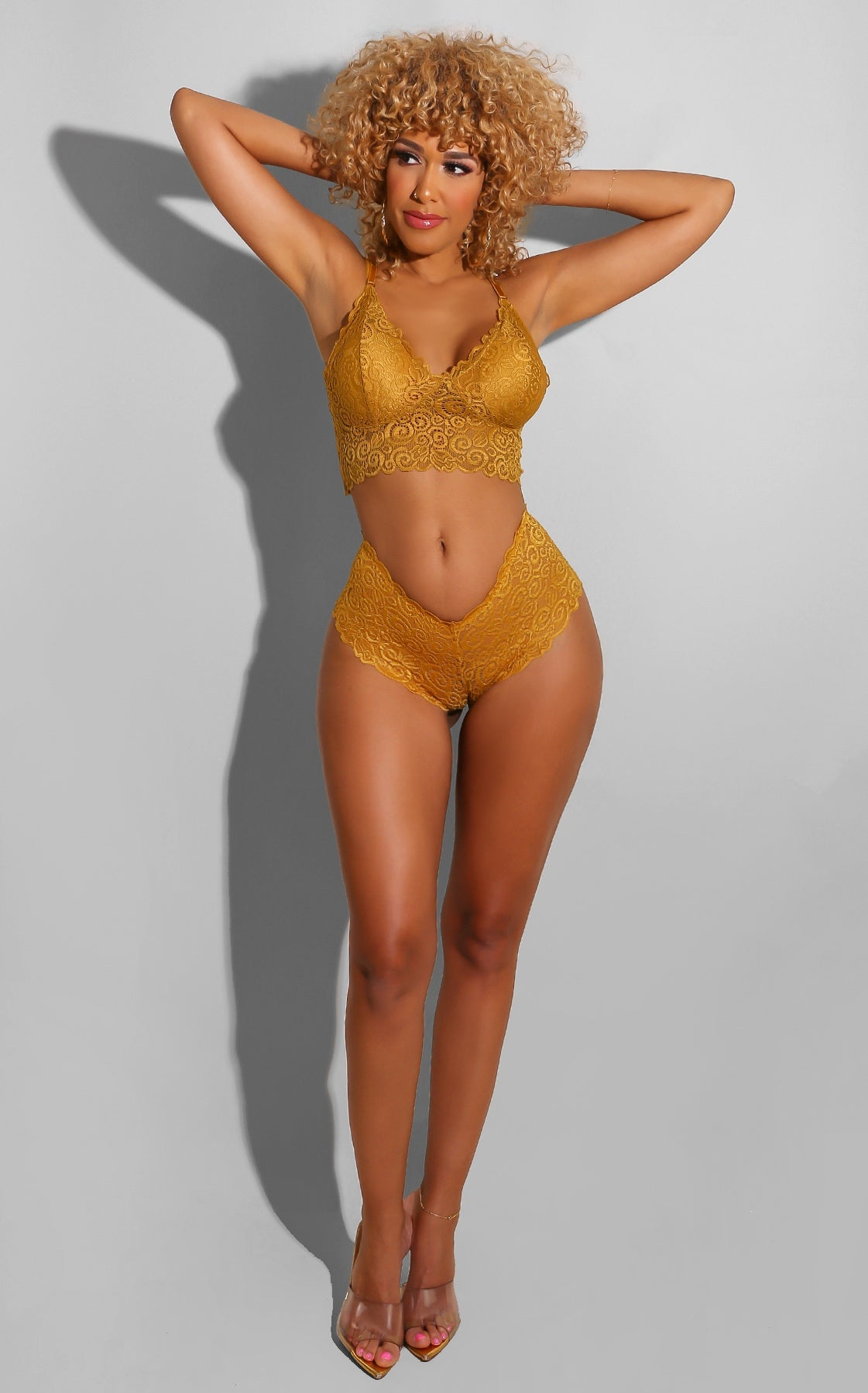 Butterfly Lace Boy Short Set Mustard