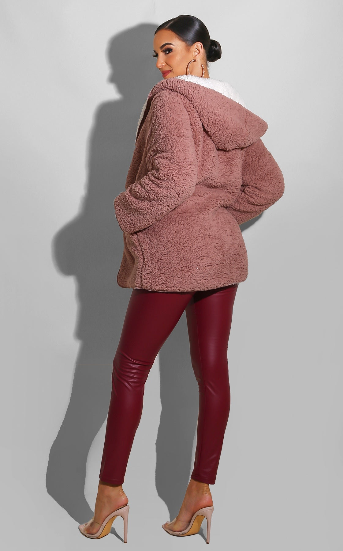 Liquid Pleather Leggings Burgundy