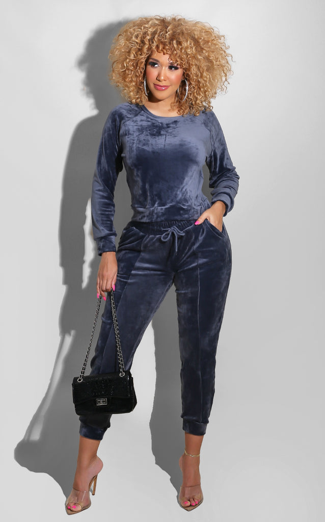 Girlfriend Velour Sweatsuit Set  Royal Blue